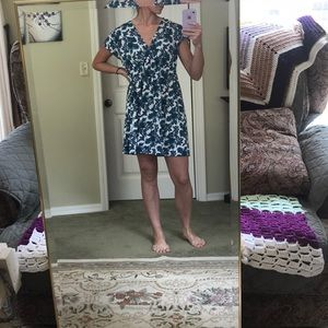 Blue and white floral print sundress